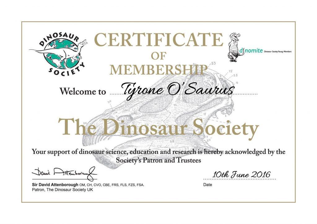 Dinosaur Society Membership Certificate