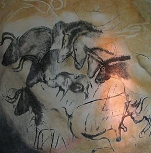 Copy of one of the paintings in Chauvet Cave: Wikipedia Public Domain