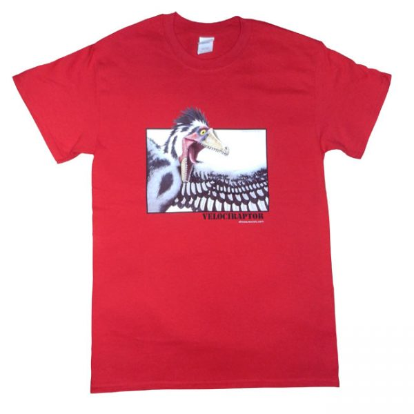 Velociraptor T Shirt Red Adult